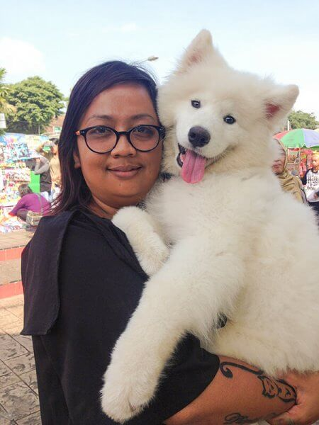 Tante Puspita with Samoyed