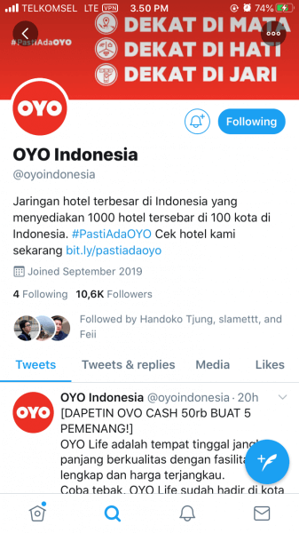 Eirudo follow OYO Indonesia di Twitter